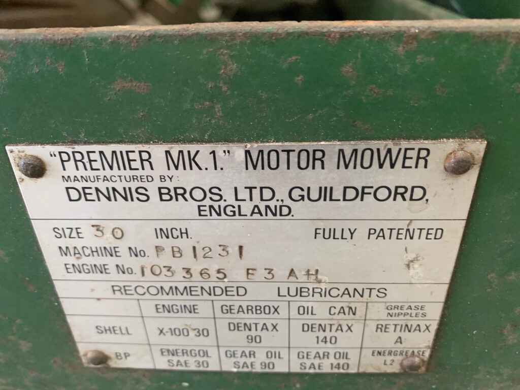 1959/60 Dennis Commercial Lawnmower 600cc